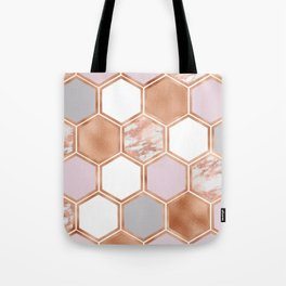 Mixed rose gold pinks and marble geometric Tote Bag