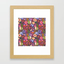 Calico Cat Garden Framed Art Print