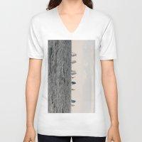 sailing V-neck T-shirts featuring sailing by habish