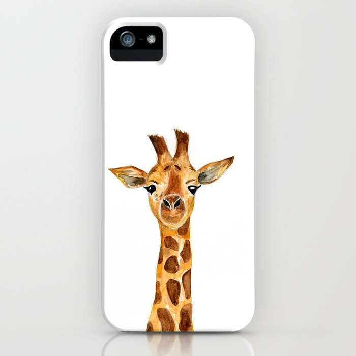giraffe watercolor painting  iPhone Case