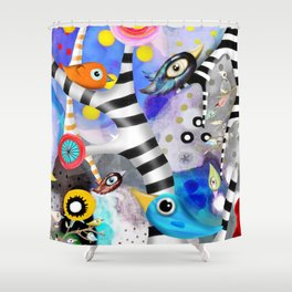 Brainwashing - Good bye Sozialismus - Floating Ideas - BIRDS STRIPED TREE Shower Curtain