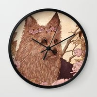 yorkie Wall Clocks featuring Yorkie by Angela Rizza
