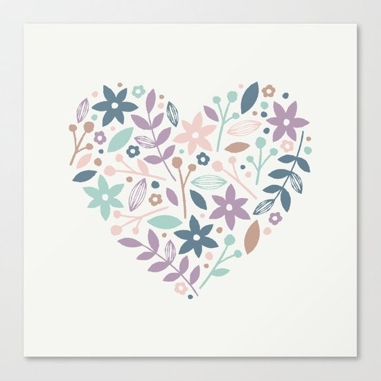 Floral Heart - in Cream Canvas Print