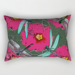 SHABBY CHIC BLUE DRAGONFLIES ON  FUCHSIA HOLLYHOCK FLOWERS Rectangular Pillow