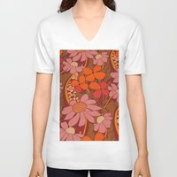 50s V-neck T-shirts featuring Crazy pinks 50s Flower  by Follow The White Rabbit
