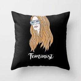 Gloria Steinem Feminist Icon Watercolor Throw Pillow