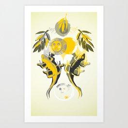 Lizard sun Art Print