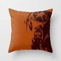 the dude Throw Pillows featuring Dude by Brooke Copani