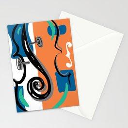 Scroll Pride - violin viola cello love - orange and teal Stationery Cards