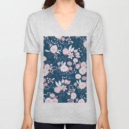 Elegant mauve pink white navy blue rustic floral Unisex V-Neck