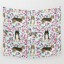 Shetland sheepdog sheltie cherry blossom floral flowers florals dog breed dogs Wall Tapestry