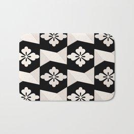 Black White Tiles Bath Mat