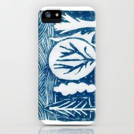 linocut trees print iPhone Case