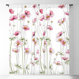 Pink Cosmos Flowers Blackout Curtain