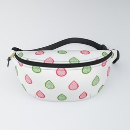 Pink and green raindrops Fanny Pack