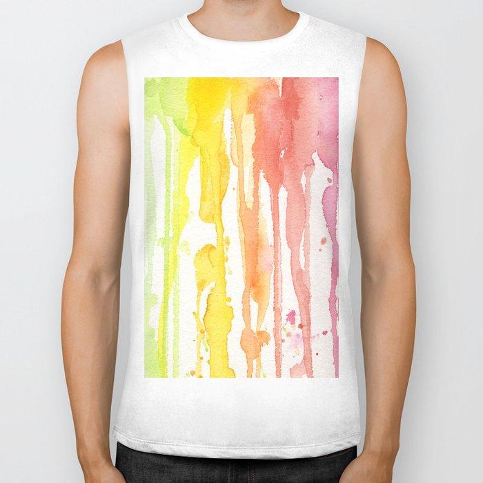 Rainbow Watercolor Texture Pattern Abstract Biker Tank