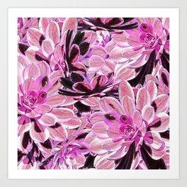 Pink Desert Succulents Art Print