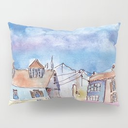 Colorful houses with little lamps in old town Pillow Sham
