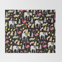 Funny Unicorn Party Throw Blanket