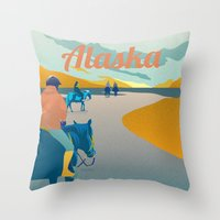 alaska Throw Pillows featuring Alaska by Shirong Gao