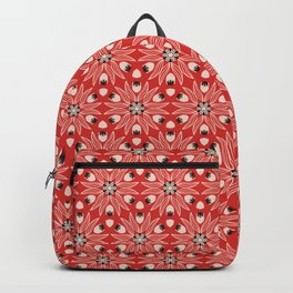 Vintage Poppy Red and Old Cream Drawn Flower Linear, with Black Seed Pods Floral Backpack