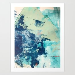 Letting Go: an abstract mixed-media piece in blues and greens by Alyssa Hamilton Art Art Print