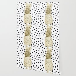 Gold Pineapple on Black and White Polka Dots Wallpaper
