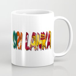 Sri Lanka Word With Flag Texture Coffee Mug