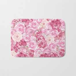 Hand painted white blush pink  coral floral Bath Mat