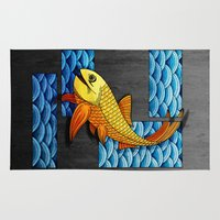 mandie manzano Area & Throw Rugs featuring Little red fish by Diogo Verissimo