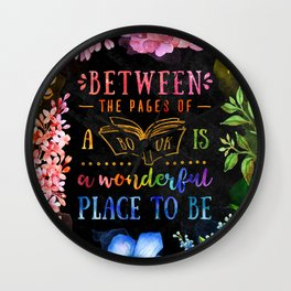 Between the pages - black Wall Clock