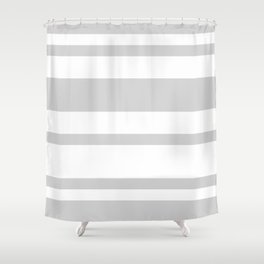 Mixed Horizontal Stripes - White and Light Gray Shower Curtain