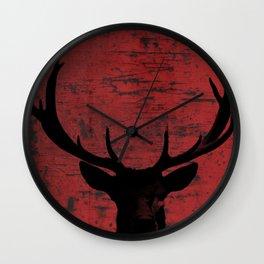 Industrial Deer Animal on Red Rust A313 Wall Clock