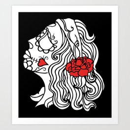 day of the dead white Art Print