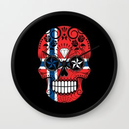 Sugar Skull with Roses and Flag of Norway Wall Clock