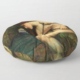 """John William Waterhouse """"The Siren"""" Floor Pillow"""