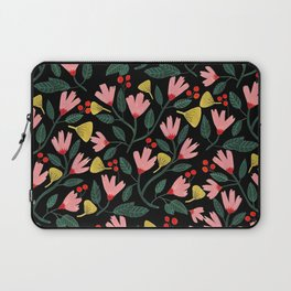 Pink Floral Pattern on Black Laptop Sleeve