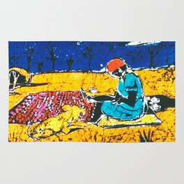 Emily paints her Story, AUSTRALIA                   by Kay Lipton Rug