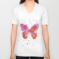artsy V-neck T-shirts featuring Artsy Butterfly by LebensART