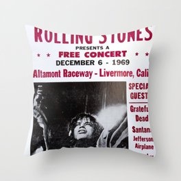 Vintage Rolling Stones free concert at Altamont Raceway, Livermore, California, December 6, 1969 Throw Pillow