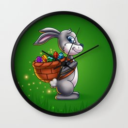 Easter Bunny Carrying A Basket Of Eggs - Digital Painting Wall Clock