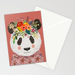 Cut Panda Bear with flower crown. Cute decor for kids Stationery Cards