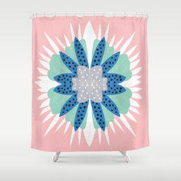 Big flower turquoise & dark blue Shower Curtain