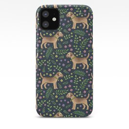 Border Terriers Spring Floral on navy - pattern iPhone Case