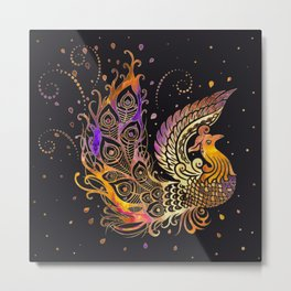 Colorful Glow Phoenix Bird Metal Print