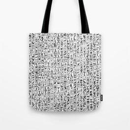 Hieroglyphics B&W / Ancient Egyptian hieroglyphics pattern Tote Bag