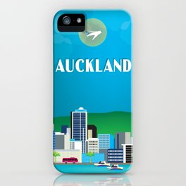Auckland, New Zealand - Skyline Illustration by Loose Petals iPhone Case