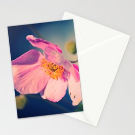 Dynamic Anemone Botanical photograph print; hot pink poppy type flower with gold vivid blue Stationery Cards