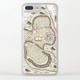 Vintage 1730 Street Map or Plan of Jerusalem Clear iPhone Case