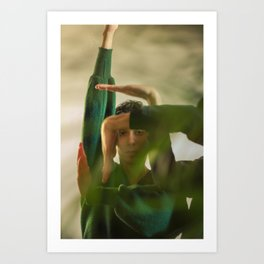 Woman face with hands, geometry Art Print